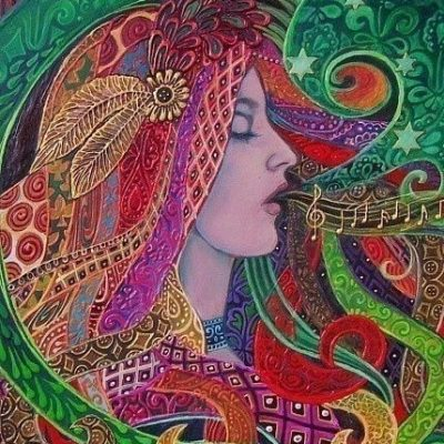 Mezzo Goddess - We sing our dreams into being - A print of the original acrylic painting by Emily Balivet, 2008_